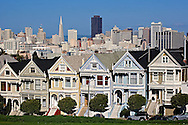 Victoria homes (Six Sisters) and view of San Franciso skyline from Alamo Square, San Francisco, California