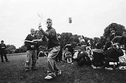 Man playing with sticks, 12v Teknival, Bristol, July 2011