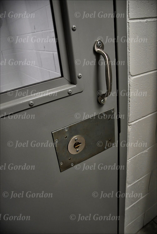 Close up of  holding cell door in theJuvenile Justice Center, Ninth Judicial Circuit Court of Florida. Juveniles are  either waiting to be called before the judge or waiting to be returned to the juvenile detention center in Orlando FL