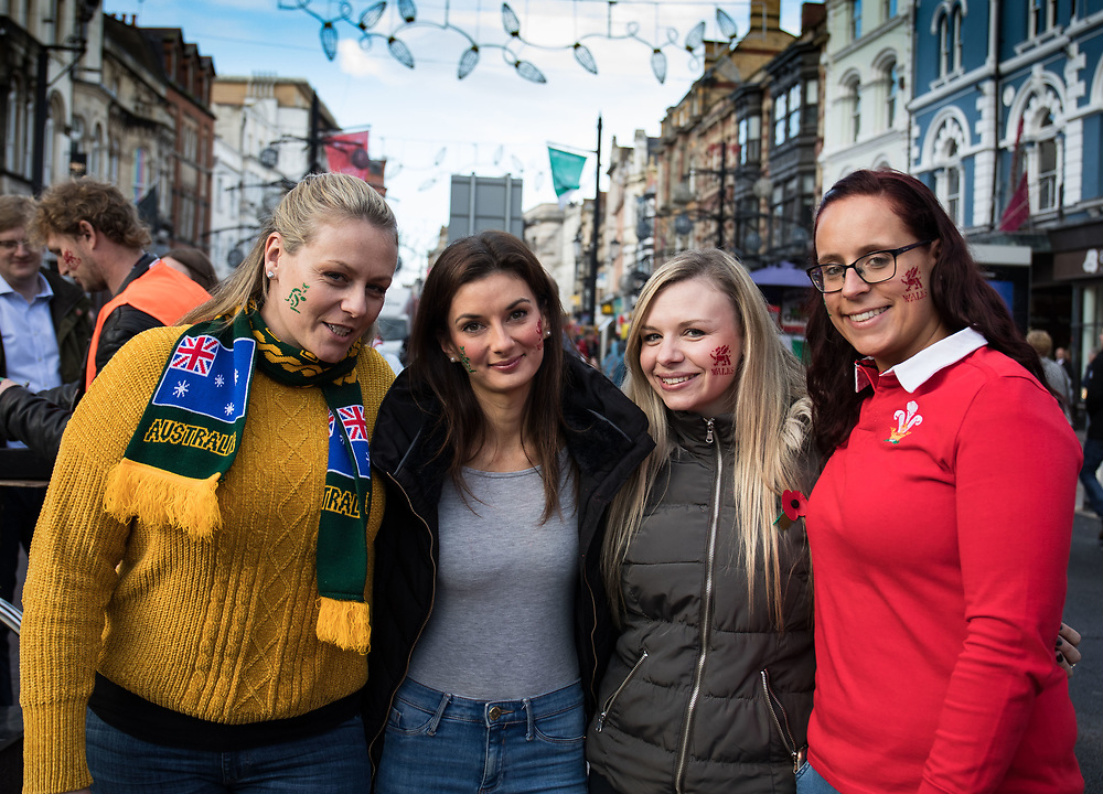 Fans after having some facepaint<br /> <br /> Photographer Simon King/Replay Images<br /> <br /> Under Armour Series - Wales v Australia - Saturday 10th November 2018 - Principality Stadium - Cardiff<br /> <br /> World Copyright © Replay Images . All rights reserved. info@replayimages.co.uk - http://replayimages.co.uk