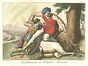 Roland and Ferragus. The hero Roland killing the giant Ferragus. From the old French romance 'Valentine and Orson' set in the times of Charlemagne. The artist has shown the giant as a Saracen. Hand-coloured engraving c1820.