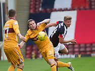 Dundee&rsquo;s Mark O&rsquo;Hara beats Motherwell&rsquo;s Steven Hammell in the air - Motherwell v Dundee, Fir Park, Motherwell, Photo: David Young<br /> <br />  - &copy; David Young - www.davidyoungphoto.co.uk - email: davidyoungphoto@gmail.com