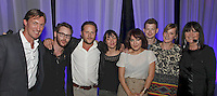 L to R - Brian Message (MMF Chairman), award presenter Sean Parker (Napster co-creator and founding president of Facebook, Adam Tudhope and Everybody's management team winners of The Achievement Award)  with host Sandie Shaw. The Artist and Manager Awards 2011, The Roundhouse, London..Tuesday, Sep.13, 2011