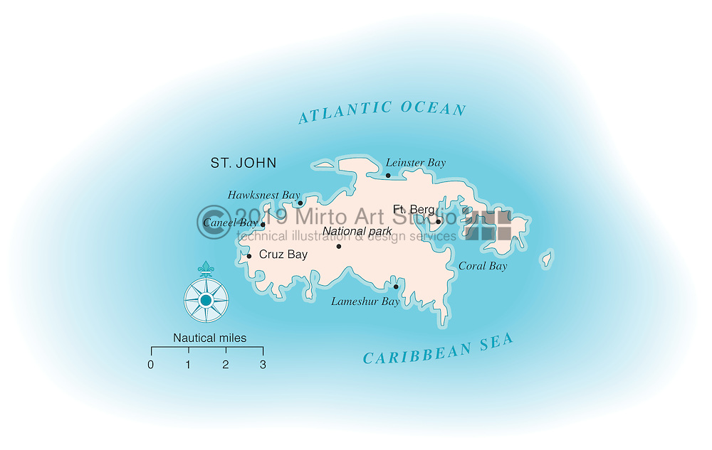Vector map of Saint John, US Virgin Islands