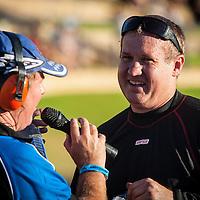 Top Fuel driver Damien Harris (526) being interview by Richie Howlett at the Perth Motorplex.