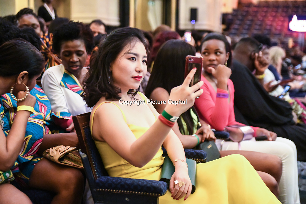 Xiao Xiao Kong of Kisin Kong Fashion Agency attend African Fashion Week London 2019 #AFWL2019 - backstage at Freemasons Hall on 9 August 2019, London, UK.