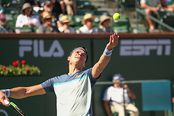 March 16, 2019 - Indian Wells, CA, U.S. - INDIAN WELLS, CA - MARCH 16: Milos Raonic (CAN) serves during the BNP Paribas Open on March 16, 2019 at Indian Wells Tennis Garden in Indian Wells, CA. (Photo by George Walker/Icon Sportswire) (Credit Image: © George Walker/Icon SMI via ZUMA Press)