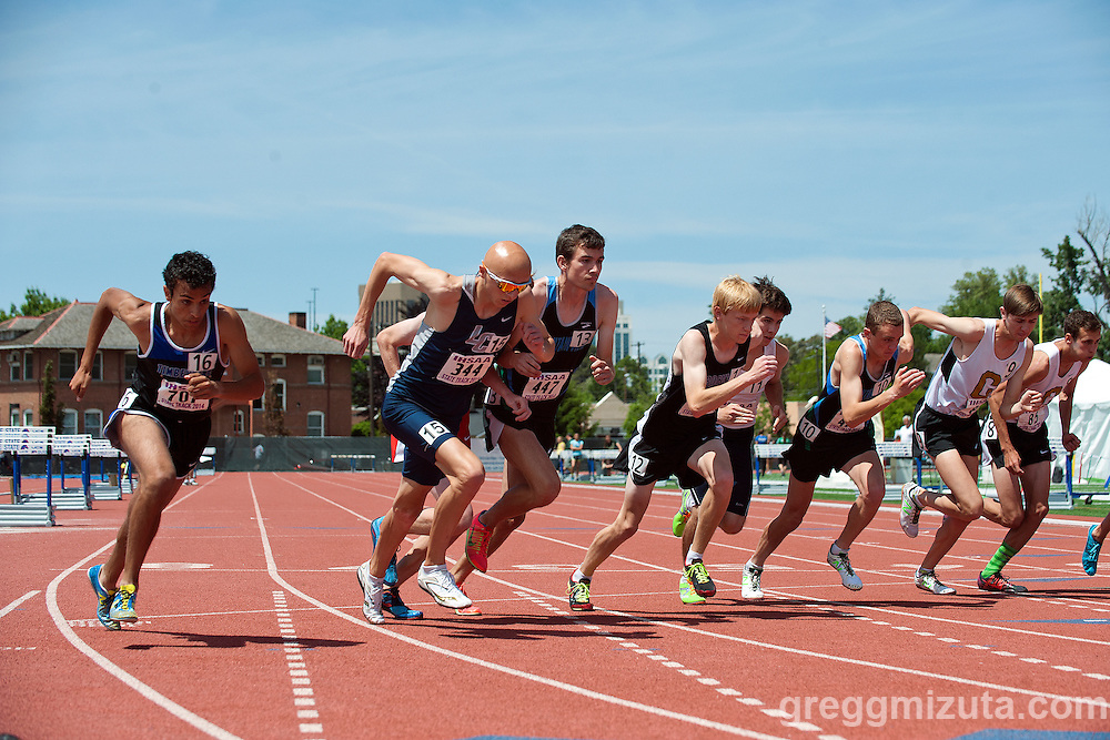 The start (L to R: Andrew Rafla, Kyler Little, Benson Manner, Jared Capell, Michael Slagowski, Dwain Stucker, Noah Horsburgh, Drew Schultz, Zach Wiberg) of the Idaho State Track & Field Championship 5A 1600 meter run at Dona Larsen Park, Boise, Idaho on May 16, 2014. Rafia won the event in in 4:10.33 and set a new 5A state meet classification record.