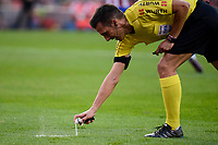Referee using a spray during a match of La Liga Santander at Vicente Calderon Stadium in Madrid. October 29, Spain. 2016. (ALTERPHOTOS/BorjaB.Hojas)