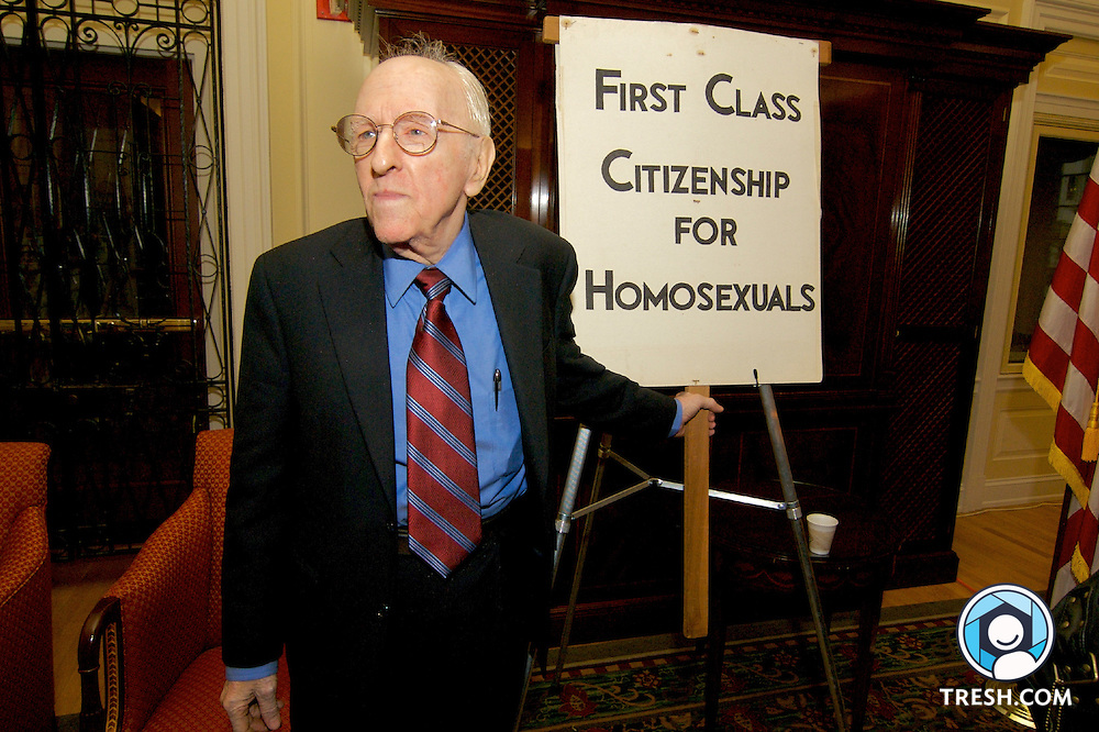 "Frank Kameny hold a protest sign. At a ceremony Friday, October 6, 2006, in the Thomas Jefferson Building of the U.S. Library of Congress, signs and a collection of personal papers from Frank Kameny, a pioneer of gay rights who coined the phrase ""Gay is good,"" were turned over to the library manuscript division."