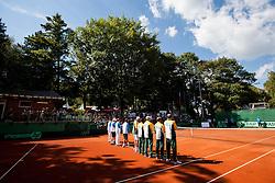 Sponsors during Davis Cup Slovenia vs. South Africa on September 14, 2013 in Tivoli park, Ljubljana, Slovenia. (Photo by Vid Ponikvar / Sportida.com)