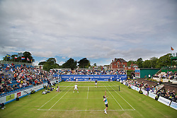 LIVERPOOL, ENGLAND - Saturday, June 20, 2015: Jeremy Bates (GBR) serves during Day 3 of the Liverpool Hope University International Tennis Tournament at Liverpool Cricket Club. (Pic by David Rawcliffe/Propaganda)