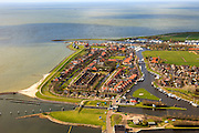 Nederland, Friesland, Stavoren, 16-04-2012; Starum of Staveren, haven en jachthaven. Voormalige Hanzestad,  een van de Friese elf steden..Small Frisian harbour town at IJsselmeer. ..luchtfoto (toeslag), aerial photo (additional fee required).foto/photo Siebe Swart