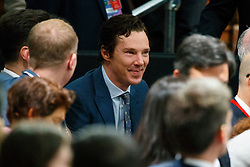 © Licensed to London News Pictures. 23/04/2016. London, UK. Benedict Cumberbatch listening President of the United States Barack Obama holding a Q&A session with young people at Lindley Hall, Royal Horticultural Society in central London on Saturday, 23 April 2016. Photo credit: Tolga Akmen/LNP