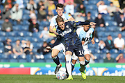 Leeds United midfielder Samu Saiz (14) holds off the challenge during the EFL Sky Bet Championship match between Blackburn Rovers and Leeds United at Ewood Park, Blackburn, England on 20 October 2018.