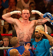 George Groves ce lebrates his victory over James DeGale, for the British and Comonwealth Suoer-Midelweight Championship, in the World Championship Boxing event at The O2 in London, Saturday, May 21st, 2011..Bogdan Maran / ClevaMedia .