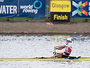 Glasgow, Scotland, Sunday, 5th  August 2018, Final Men's  Single Sculls, Gold  Medalist, SUI W1X, Jeannine  GMELIN,  European Games, Rowing, Strathclyde Park, North Lanarkshire, © Peter SPURRIER/Alamy Live News