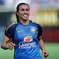 ORLANDO, FL - OCTOBER 25: Marta #10 of Brazil is seen on the pitch during a women's international friendly soccer match between Brazil and the United States at the Orlando Citrus Bowl on October 25, 2015 in Orlando, Florida. The United States won the match 3-1. (Photo by Alex Menendez/Getty Images) *** Local Caption *** Marta