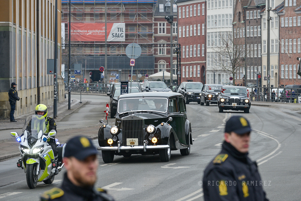 20.02.2018. Copenhagen, Denmark. <br /> The Royal Family arrive to Christiansborg Palace Church to the funeral of Prince Henrik. Photo: Ricardo Ramirez.