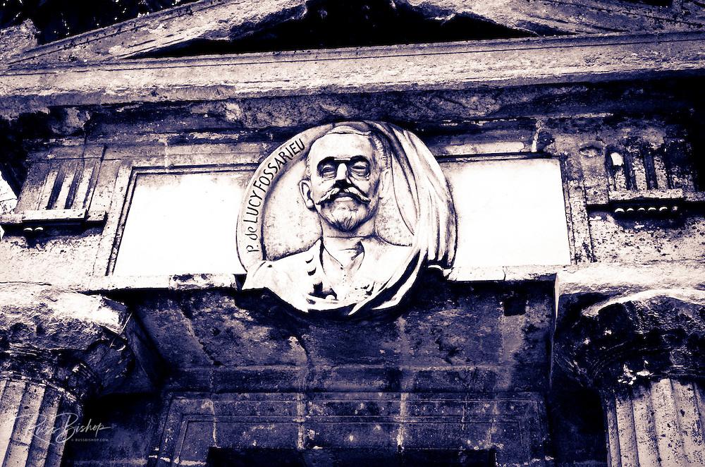 Bust on mausoleum at Père Lachaise Cemetery, Paris, France
