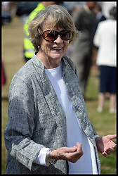 Image ©Licensed to i-Images Picture Agency. 30/07/2014. Norfolk, United Kingdom. Actress Maggie Smith joins Prince Charles and The Duchess of Cornwall visit the Sandringham Flower show on the Queen's Sandringham estate, Norfolk. Picture by Andrew Parsons / i-Images