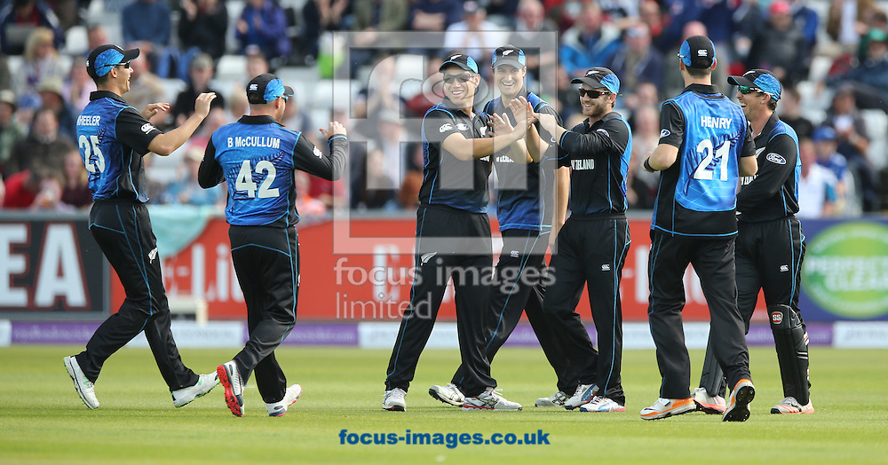 New Zealand celebrate the opening wicket during the Royal London One Day Series match at Emirates Durham ICG, Chester-le-Street<br /> Picture by Simon Moore/Focus Images Ltd 07807 671782<br /> 20/06/2015