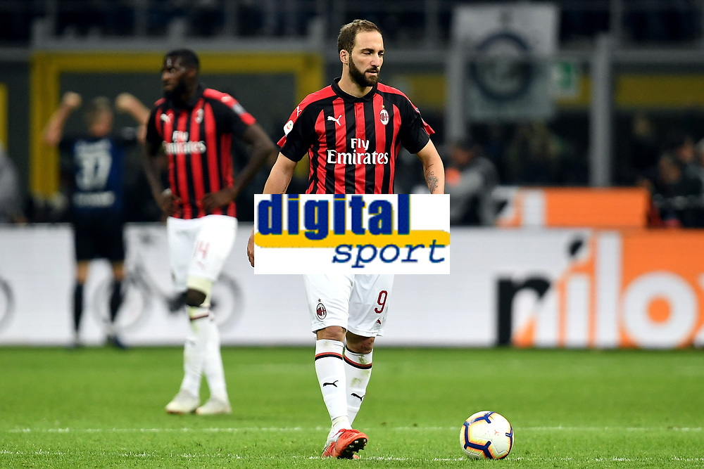 Gonzalo Higuain of AC Milan dejected after Inter goal during the Serie A 2018/2019 football match between Fc Internazionale and AC Milan at Giuseppe Meazza stadium Allianz Stadium, Milano, October, 21, 2018 <br />  Foto Andrea Staccioli / Insidefoto