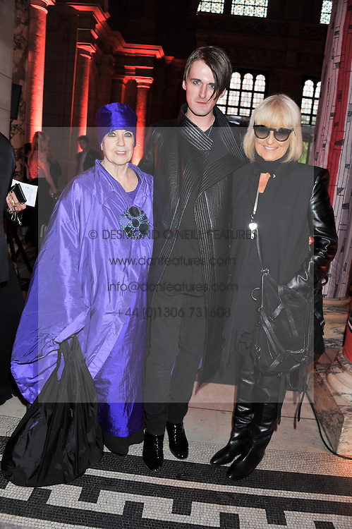 Left to right, MOLLY PARKIN, GARETH PUGH and BARBARA HULANICKI at a private view of Ballgowns: British Glamour Since 1950 at the V&A museum, London on 15th May 2012.