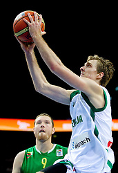 Darius Songaila of Lithuania and Zoran Dragic of Slovenia during basketball game between National basketball teams of Slovenia and Lithuania at of FIBA Europe Eurobasket Lithuania 2011, on September 15, 2011, in Arena Zalgirio, Kaunas, Lithuania. Lithuania defeated Slovenia 80-77.  (Photo by Vid Ponikvar / Sportida)