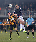 Dundee's Gavin Rae outjumps Alloa Athletic's Kevin Cawley - Alloa Athletic v Dundee, SPFL Championship at Recreation Park, Alloa<br /> <br />  - &copy; David Young - www.davidyoungphoto.co.uk - email: davidyoungphoto@gmail.com