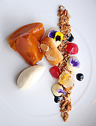 The peaches dessert at The Lobby restaurant in the Peninsula Hotel on Wednesday, July 17, 2013. (Brian Cassella/Chicago Tribune) B583063981Z.1 <br /> ....OUTSIDE TRIBUNE CO.- NO MAGS,  NO SALES, NO INTERNET, NO TV, CHICAGO OUT, NO DIGITAL MANIPULATION...