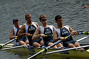 Amsterdam, HOLLAND, GBR M4- Bow Oliver MOORE, Mohamed SBIHI, Cameron NICHOL and Colin SCOTT, move way from the start in his heat of the men's four ,at the 2007 FISA World Cup Rd 2 at the Bosbaan Regatta Rowing Course. [Date] [Mandatory Credit: Peter Spurrier/Intersport-images]..... , Rowing Course: Bosbaan Rowing Course, Amsterdam, NETHERLANDS