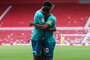 GOAL 0-1 AFC Bournemouth forward Dominic Solanke (9) celebrates with AFC Bournemouth midfielder Arnaut Danjuma (10) after scoring his team's first goal during the EFL Sky Bet Championship match between Middlesbrough and Bournemouth at the Riverside Stadium, Middlesbrough, England on 19 September 2020.