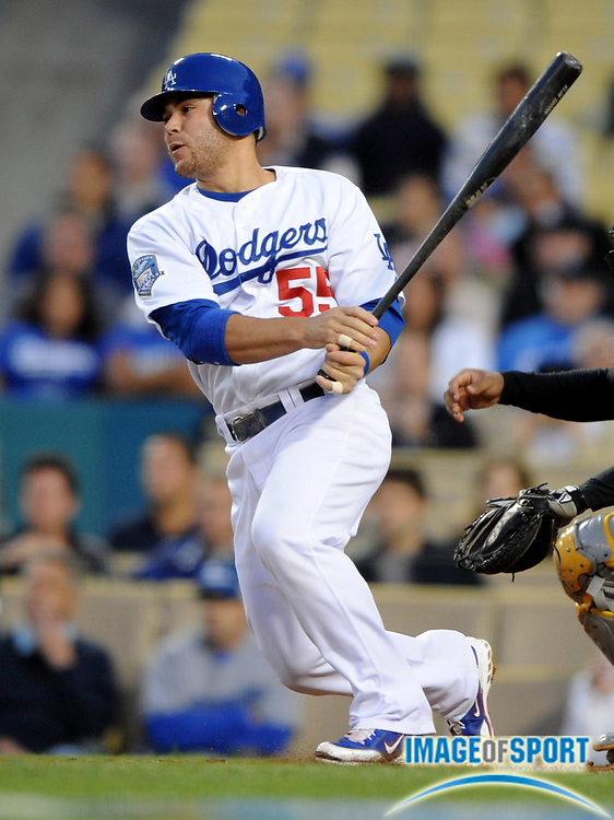 Apr 16, 2008; Los Angeles, CA, USA; Los Angeles Dodgers catcher Russell Martin (55) bats during 8-1 victory over the Pittsburgh Pirates at Dodger Stadium.