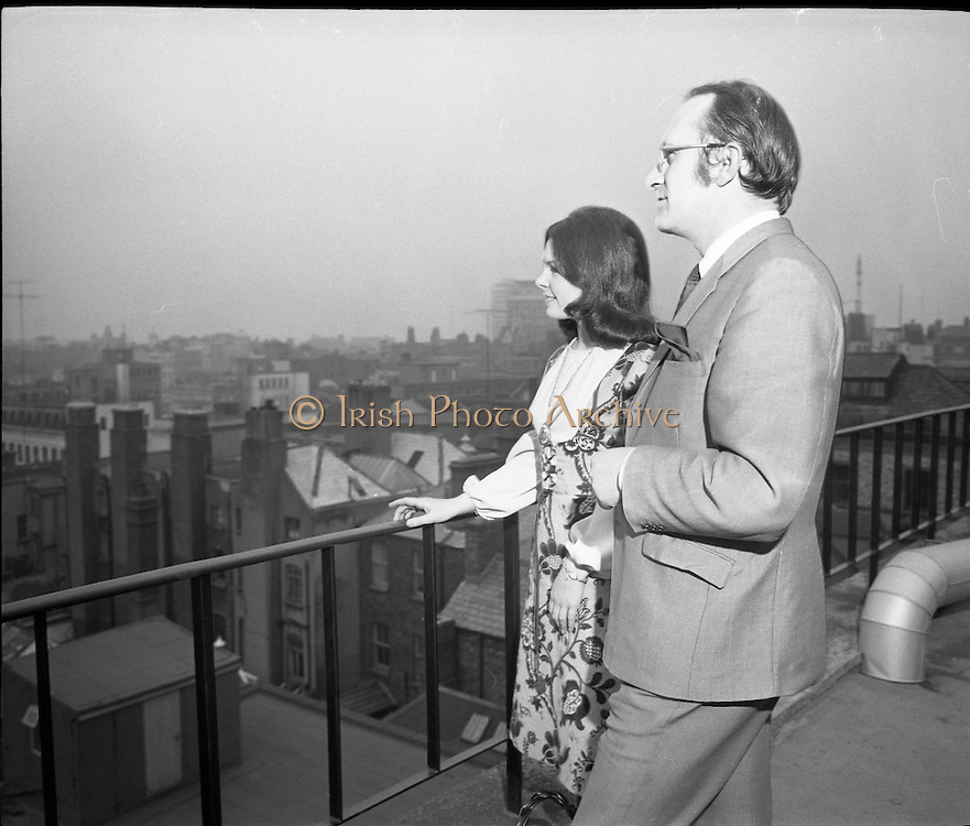 "Dana at Jurys Hotel..1971..31.03.1971..03.31.1971..31st March 1971..When ""All Kinds Of Everything"" sung by Dana (Rosemary Scallon) won the 1970 Eurovision Song Contest it meant that Ireland would be the next host for the competition. Dana was catapulted into instant celebrity and was now using this celebrity to promote this years' contest which is to be held in The Gaiety Theatre,Dublin..Image of Dana with Mr Colm Rice,Managing Director,Jury's Hotel,Dublin, looking out across the  Dublin skyline."