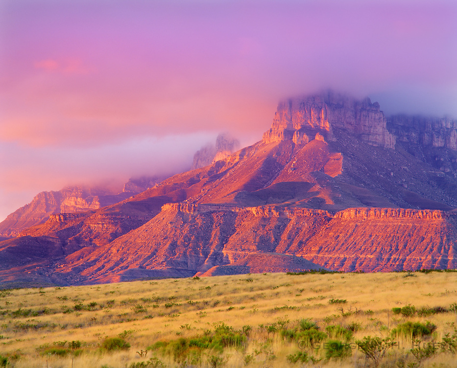 0504-1012E ~ Copyright:  George H. H. Huey ~ El Capitan Peak and the western escarpment of the Guadalupe Mountains.  Guadalupe Mountains National Park, Texas.