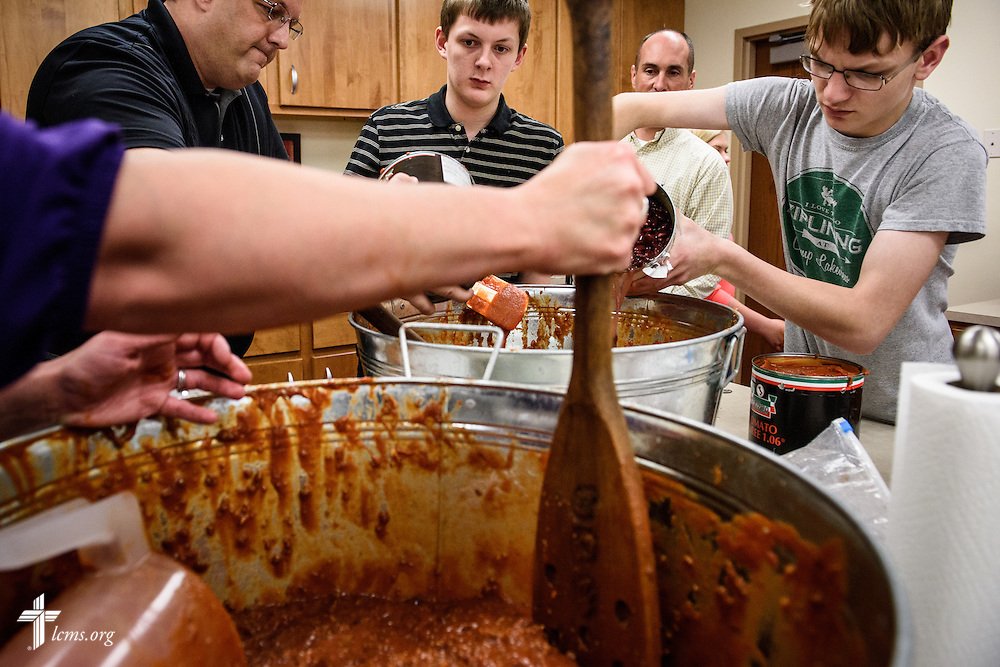 Church members make sauce for an upcoming youth gathering fundraiser at St. Paul Evangelical Lutheran Church on Sunday, April 10, 2016, in Columbus, Ind. LCMS Communications/Erik M. Lunsford LCMS Communications/Erik M. Lunsford