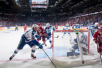 REGINA, SK - MAY 19: Stuart Skinner #74 of Swift Current Broncos defend the net during third period against the Acadie-Bathurst Titan at the Brandt Centre on May 19, 2018 in Regina, Canada. (Photo by Marissa Baecker/CHL Images)