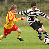 Killian O'Daly Avenue United battles for possession with Brian Considine Moher Celtic in the U13 Cup Final.<br /> Photograph by Flann Howard