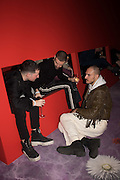 SOLOMON CHASE; DAVID TORO; ALESSANDRO BAVA, IN FRONT AND INSIDE INSTALLATION DESIGNED BY ALESSANDRO BAVA, Serpentine Gallery and Harrods host the Future Contempories Party 2016. Serpentine Sackler Gallery. London. 20 February 2016