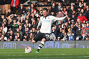 Fulham Striker, Ross McCormack (44) with a free kick and shot on goal during the Sky Bet Championship match between Fulham and Bristol City at Craven Cottage, London, England on 12 March 2016. Photo by Matthew Redman.