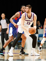 November 19, 2017 - Reno, Nevada, U.S - Reno Bighorns Center GEORGIOS PAPAGIANNIS (13) works against Long Island Nets Center KENDALL GRAY (1) during the NBA G-League Basketball game between the Reno Bighorns and the Long Island Nets at the Reno Events Center in Reno, Nevada. (Credit Image: © Jeff Mulvihill via ZUMA Wire)