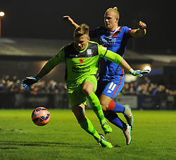 Luke Purnell of Weston Super Mare blocks Doncaster Rovers's Curtis Main - Photo mandatory by-line: Alex James/JMP - Mobile: 07966 386802 - 18/11/2014 - SPORT - Football - Weston-super-Mare - Woodspring Stadium - Weston-super-Mare v Doncaster - FA Cup - Round One