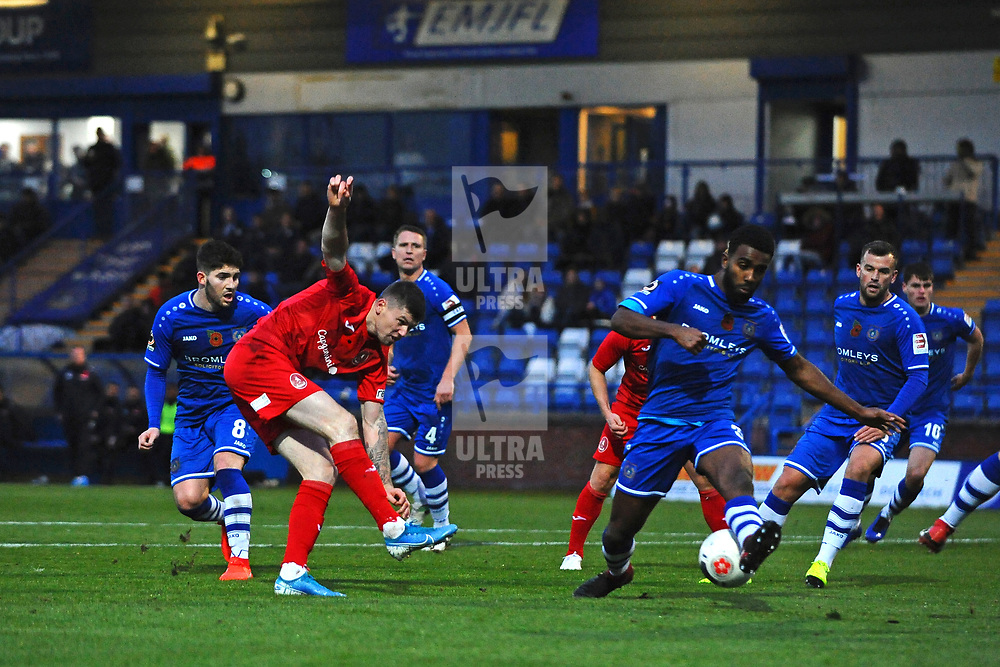 TELFORD COPYRIGHT MIKE SHERIDAN Matt Stenson of Telford (on loan from Solihull Moors) shoots during the Vanarama National League Conference North fixture between Curzon Asthon and AFC Telford United on Saturday, November 9, 2019.<br /> <br /> Picture credit: Mike Sheridan/Ultrapress<br /> <br /> MS201920-028