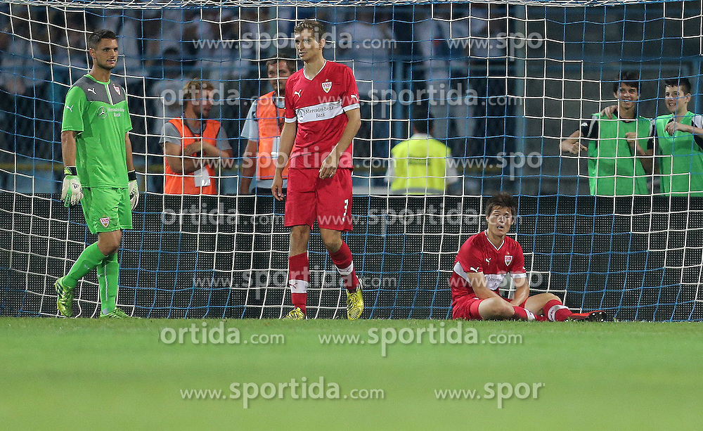 22.08.2013, Stadion Kantrida, Rijeka, CRO, UEFA EL Qualifikation, HNK Rijeka vs VfB Stuttgart, Hinspiel, im Bild Sven Ulreich, Daniel Schwaab // during the UEFA Europa League Qualification first leg match between HNK Rijeka and VfB Stuttgart at Kantrida Stadium in Rijeka, Croatia on 2013/08/22. EXPA Pictures &copy; 2013, PhotoCredit: EXPA/ Pixsell/ Igor Kralj<br /> <br /> ***** ATTENTION - for AUT, SLO, SUI, ITA, FRA only *****