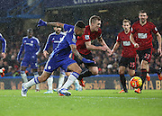 Chelsea attacker Kenedy and West Brom midfielder and captain Darren Fletcher battling for the ball during the Barclays Premier League match between Chelsea and West Bromwich Albion at Stamford Bridge, London, England on 13 January 2016. Photo by Matthew Redman.