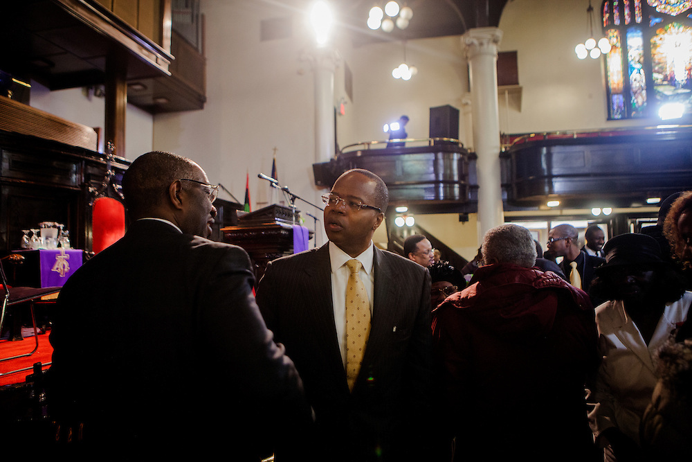 BROOKLYN, NY - FEBRUARY 22, 2015:  Kenneth P. Thompson, the new Brooklyn district attorney, meets constituents at a service at the Bridge Street AME Church in Bedford-Stuyvesant. CREDIT: Sam Hodgson for The New York Times
