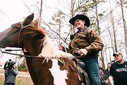 GALLANT, AL – DECEMBER 12, 2017: Judge Roy Moore, the Republican candidate in Alabama's Special General Election for the United States Senate, departs on horseback after voting at the Gallant Fire Department.  CREDIT: Bob Miller for The New York Times