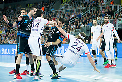Samuel Honrubia #34 of Paris Sant-Germain and Josip Valcic #22 of PPD Zagreb during handball match between PPD Zagreb (CRO) and Paris Saint-Germain (FRA) in 11th Round of Group Phase of EHF Champions League 2015/16, on February 10, 2016 in Arena Zagreb, Zagreb, Croatia. Photo by Urban Urbanc / Sportida