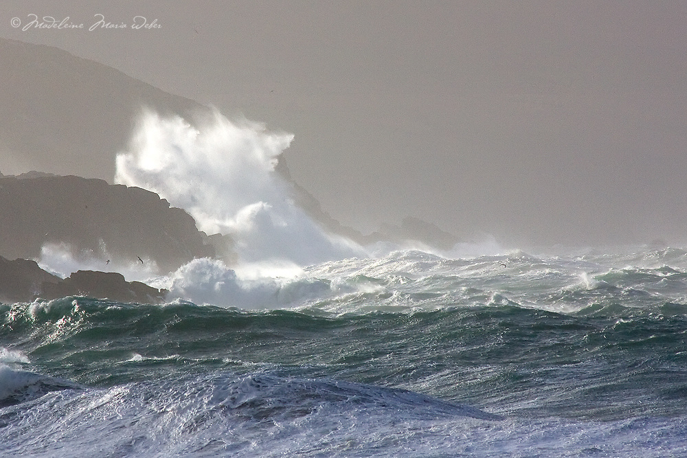 Stormy irish weather at southwest coastline of County Kerry, Ireland / sm011